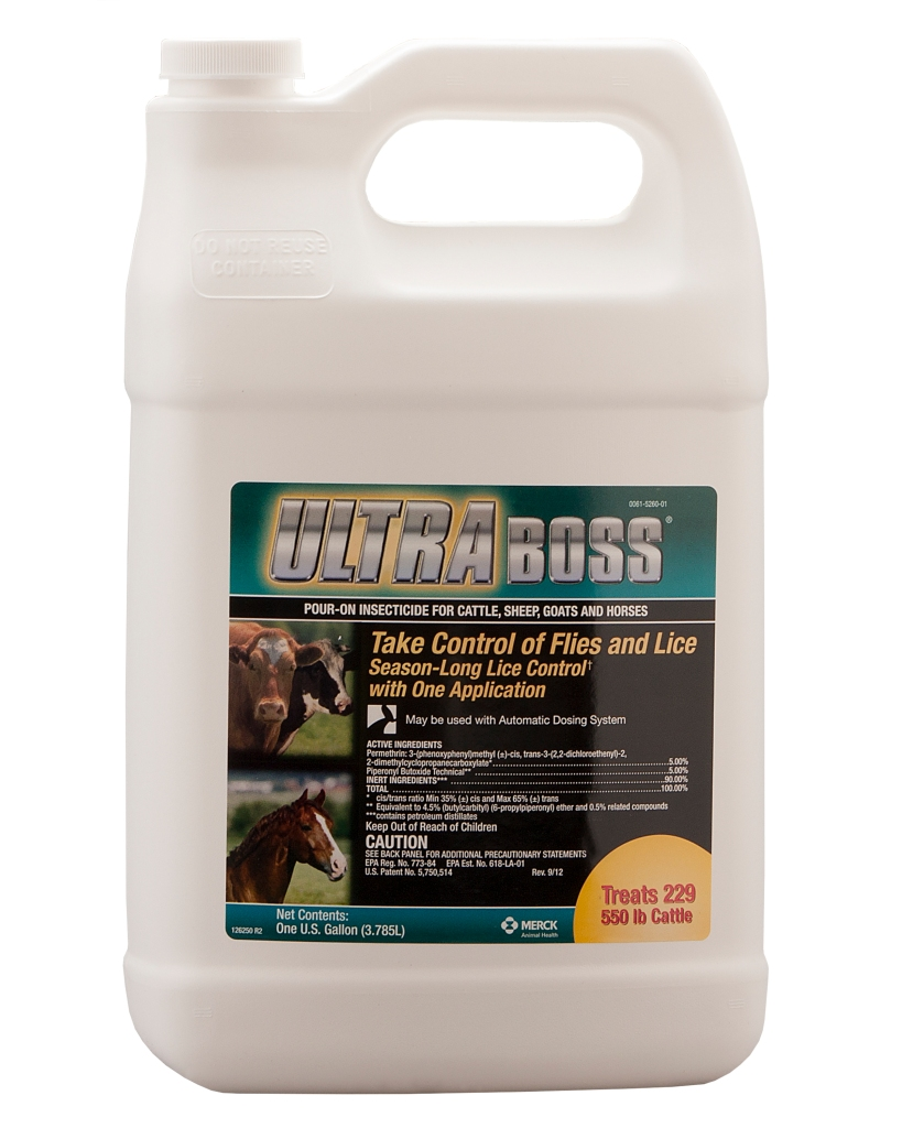 Product shot of UltraBoss Pour-On Insecticide